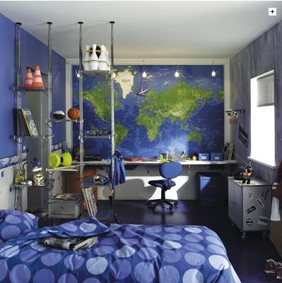 Deco chambre ado garcon bleu gris for Decoration chambre ado garcon