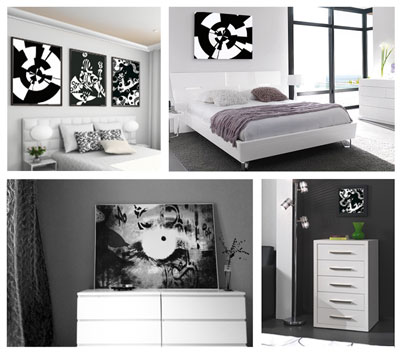 deco chambre adulte blanc et noir. Black Bedroom Furniture Sets. Home Design Ideas