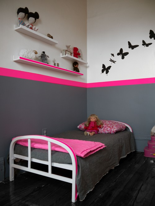 d co chambre fille rose et gris. Black Bedroom Furniture Sets. Home Design Ideas