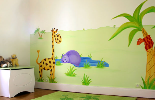 Deco chambre bebe theme jungle for Deco murale chambre bebe garcon