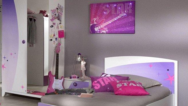 deco chambre fille violet. Black Bedroom Furniture Sets. Home Design Ideas