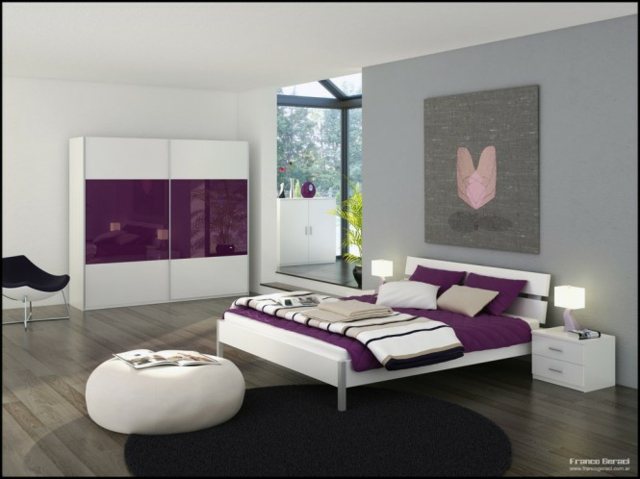 Photo Deco Chambre Gris Blanc Mauve Photo Deco