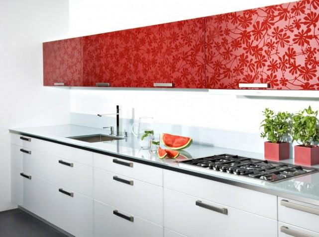 Cuisine rouge et blanche for Deco cuisine noire et blanche