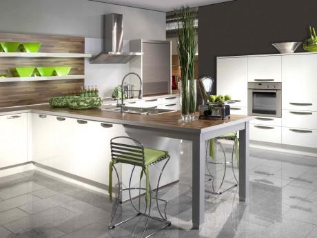 Deco cuisine blanche et verte for Modele de cuisine blanche
