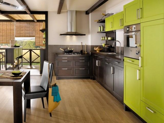 Cuisine Blanche Et Verte Simple Pots Accessoires Decoration Cuisine