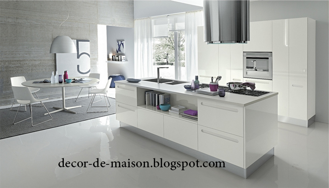 Deco cuisine moderne blanc for Organisation cuisine