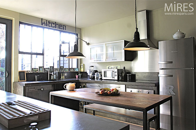 Deco cuisine moderne grise for Deco de cuisine modele