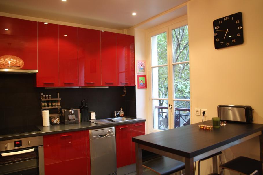 Jolie Deco Cuisine Moderne Rouge - Peinture rouge cuisine pour idees de deco de cuisine