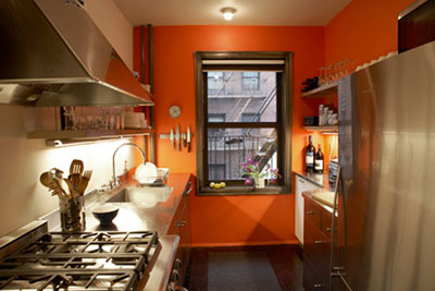 Deco cuisine peinture orange for Decoration de cuisine marron