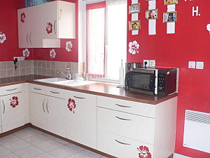 deco cuisine peinture rouge. Black Bedroom Furniture Sets. Home Design Ideas