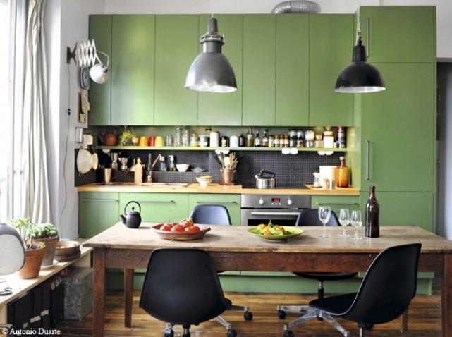 Deco cuisine peinture verte for Deco de cuisine vert