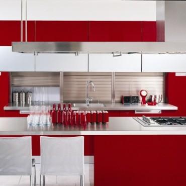 Deco cuisine rouge et blanc - Cuisine moderne rouge et blanc ...