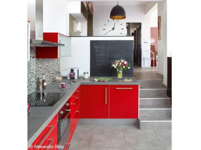 Deco cuisine rouge et blanc for Cuisine et deco