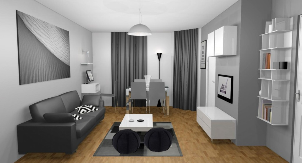 Deco interieur salon gris - Decoration interieur noir blanc gris ...