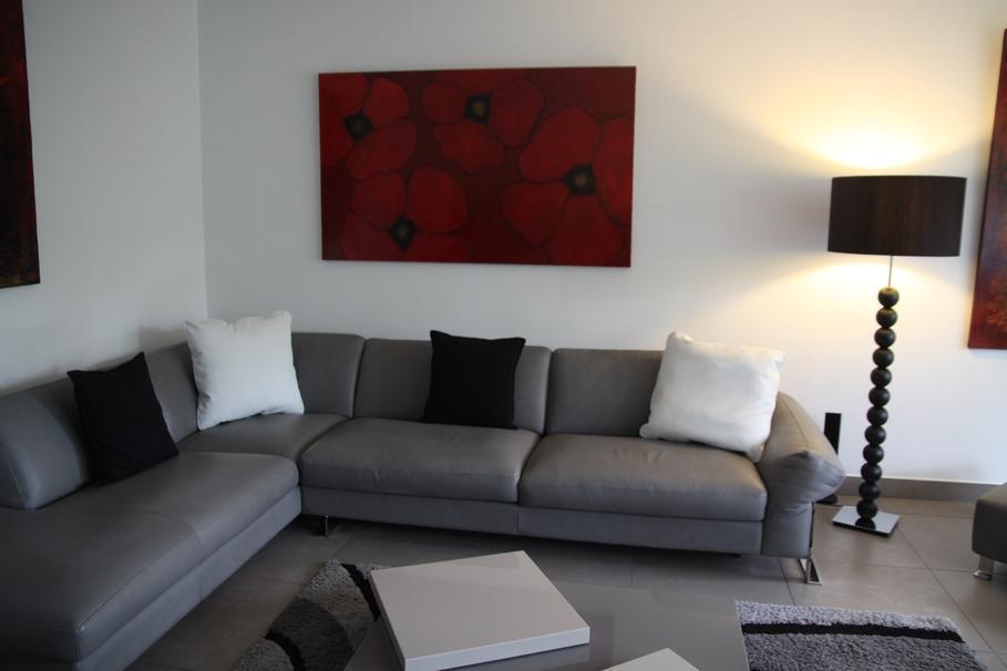 modèle deco salon contemporain noir et blanc - Photo Déco