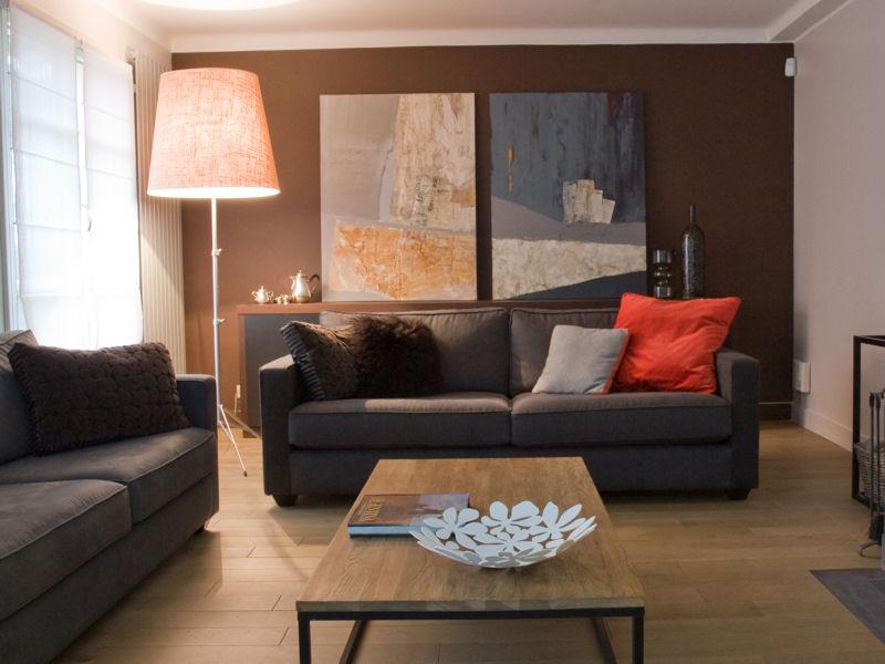 deco salon contemporain taupe. Black Bedroom Furniture Sets. Home Design Ideas