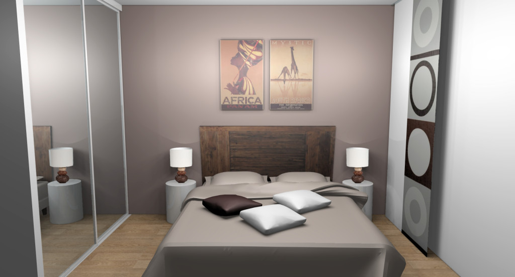 d co chambre adulte beige blanc