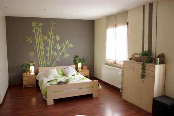 deco chambre adulte marron vert