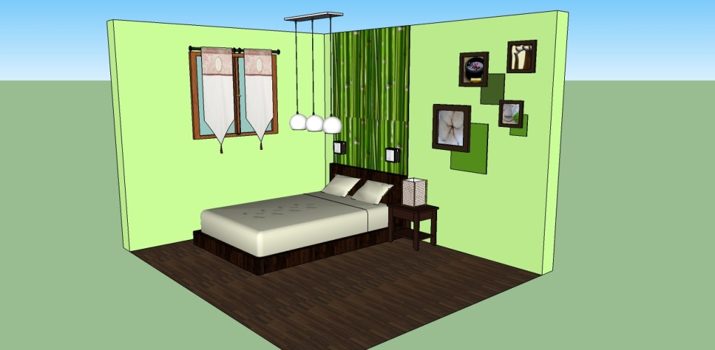 D co chambre adulte marron vert for Model de chambre adulte