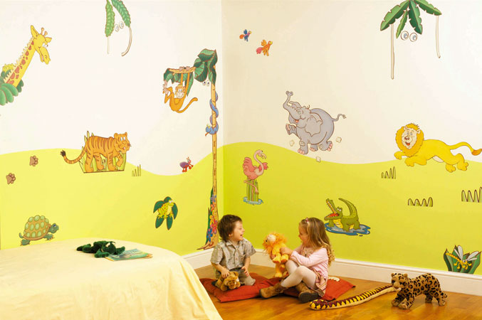 D co chambre b b animaux jungle for Decoration chambre jungle