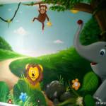 déco chambre bébé animaux jungle