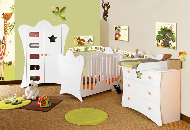 D co chambre b b jungle for Exemple deco chambre bebe