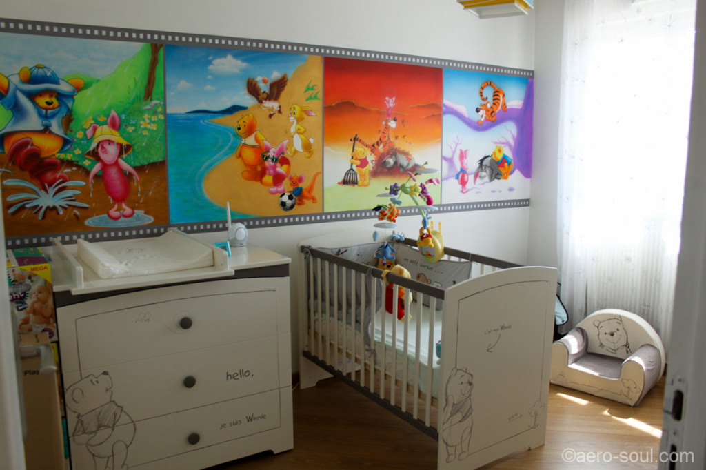 D co chambre b b winnie l 39 ourson for Exemple deco chambre bebe