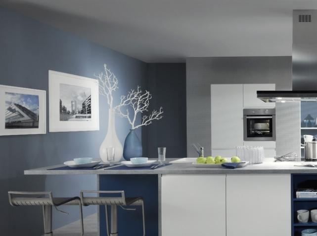 Decoration Cuisine Bleu Gris  Ide De Modle De Cuisine