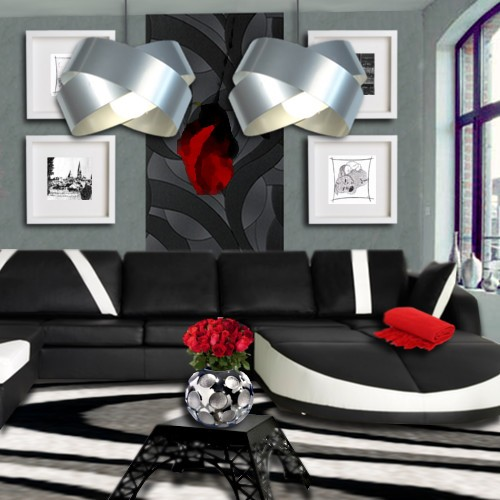 emejing idee deco salon blanc gris rouge pictures yourmentor - Decoration Salon Rouge Noir Blanc