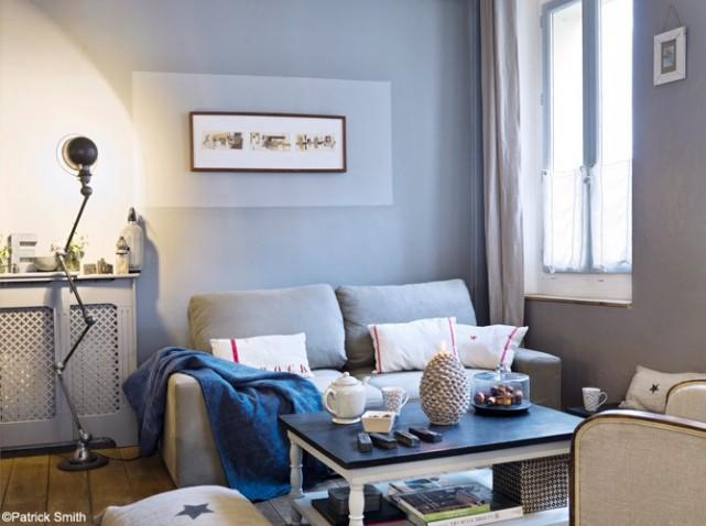 exemple déco salon gris et bleu