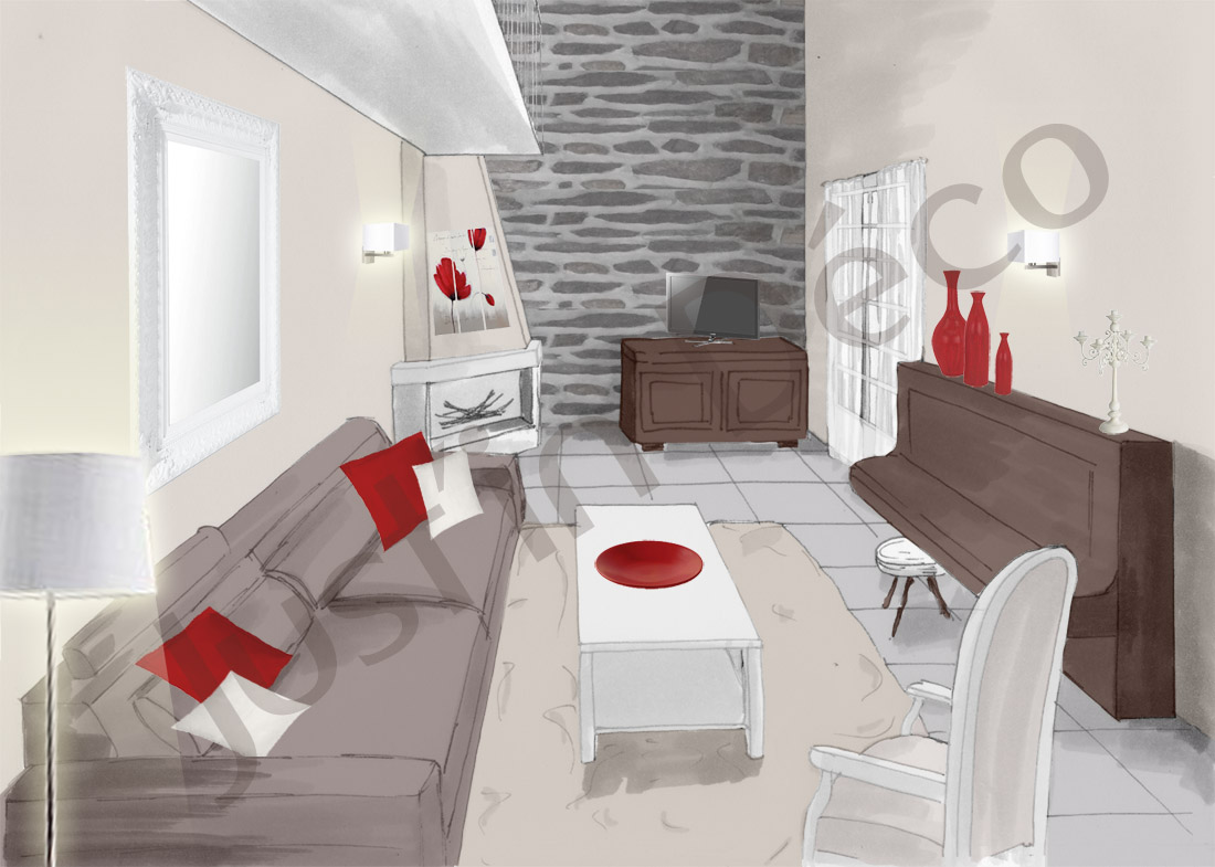Photo decoration d co salon taupe et blanc for Chambre couleur taupe et rouge