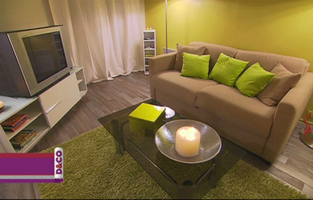 D co salon taupe et vert anis for Deco chambre vert anis