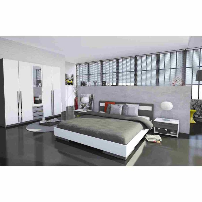 d coration chambre adulte blanc gris. Black Bedroom Furniture Sets. Home Design Ideas