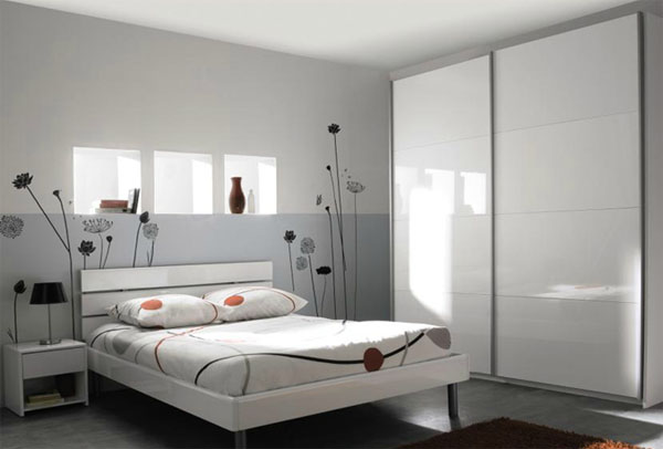 d coration chambre adulte gris et blanc. Black Bedroom Furniture Sets. Home Design Ideas