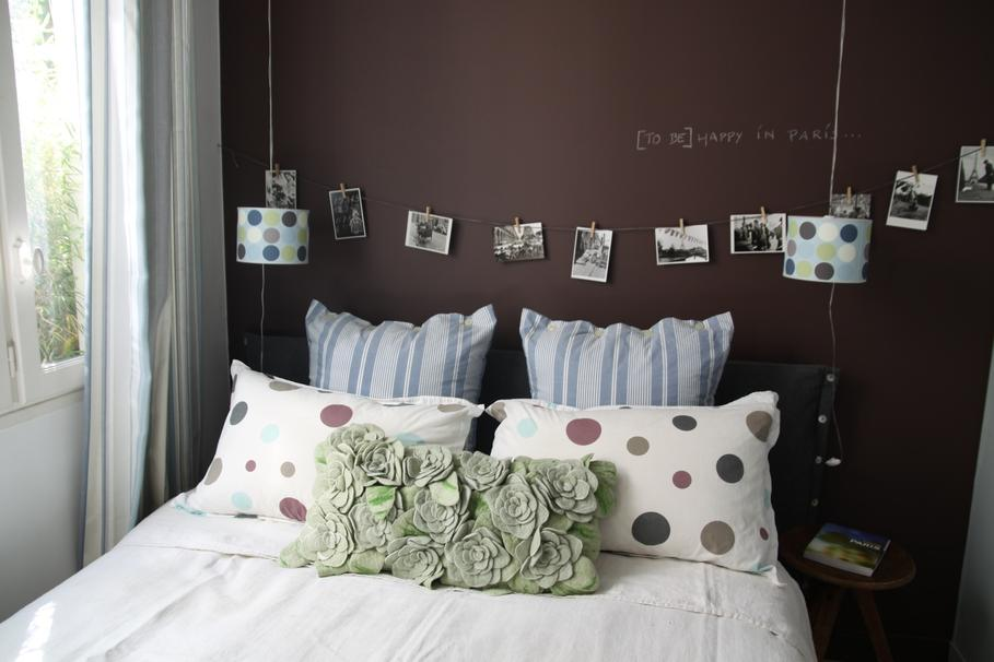 décoration chambre adulte vert marron - Photo Déco