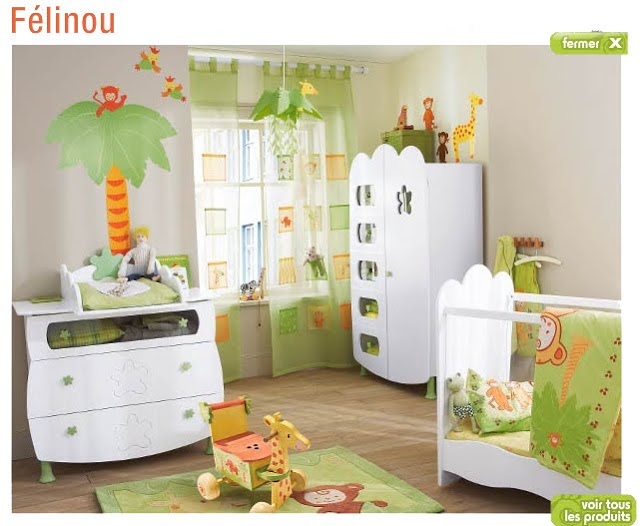 d coration chambre b b gar on jungle. Black Bedroom Furniture Sets. Home Design Ideas