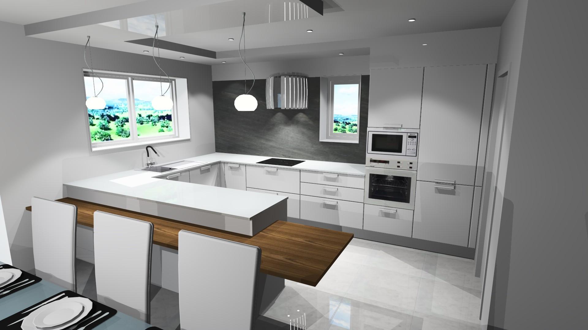 Photo décoration cuisine blanc bois