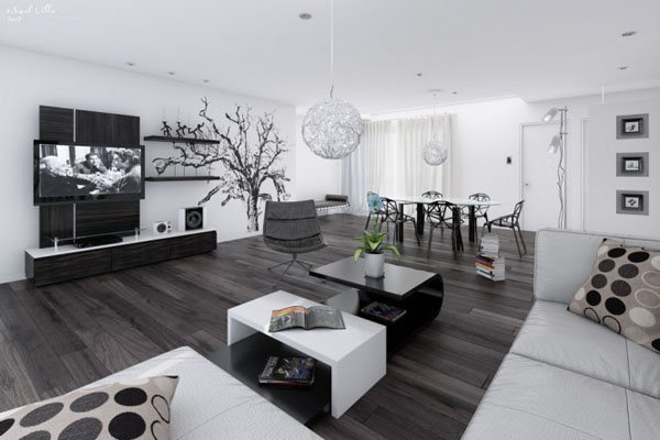 awesome model salon moderne noiretblanc gallery - lalawgroup.us ... - Idee Deco Salon Noir Gris Blanc