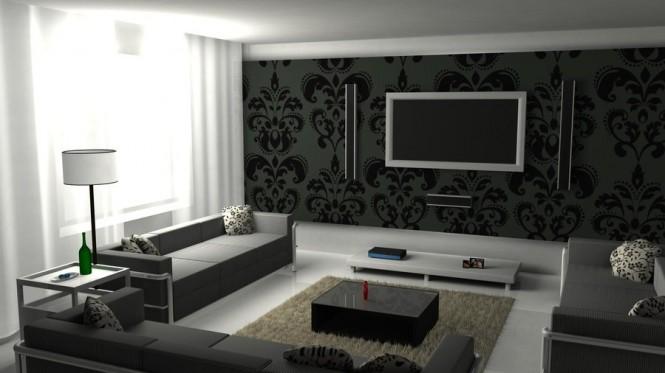Aménagement Décoration Salon Moderne Noir Et Blanc. «