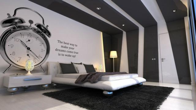 Photo deco chambre gris blanc noir