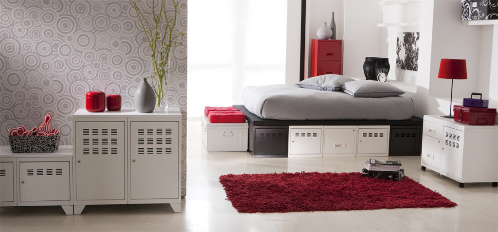 deco chambre gris blanc rouge. Black Bedroom Furniture Sets. Home Design Ideas