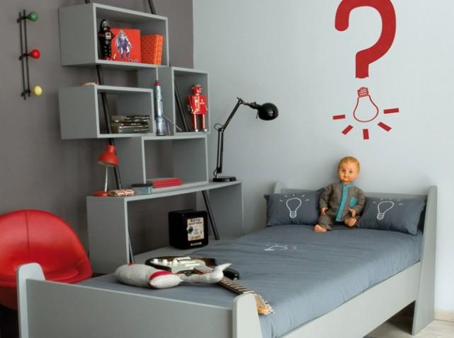 modèle deco chambre gris blanc rouge - Photo Déco