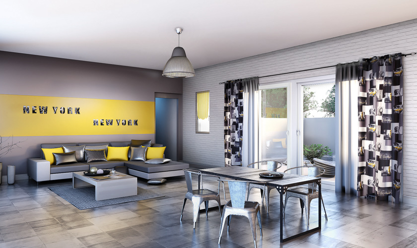 Deco chambre new york jaune - Deco salon style new york ...