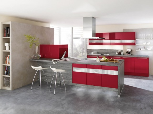 Deco cuisine rouge for Modele decoration cuisine