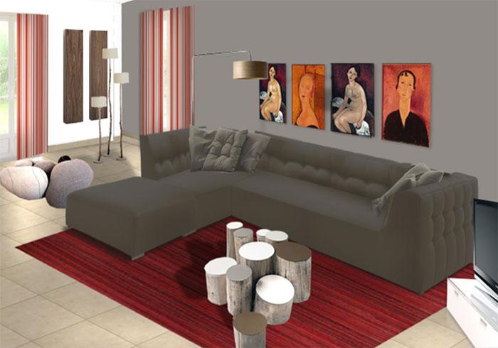deco salon contemporain. Black Bedroom Furniture Sets. Home Design Ideas