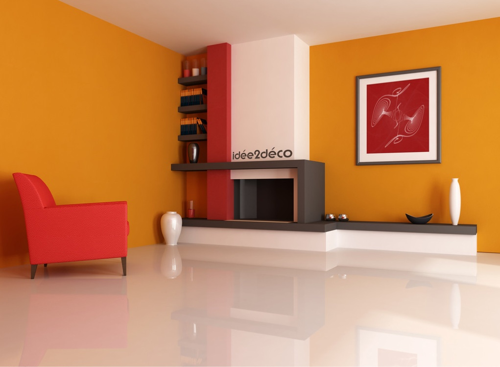 deco salon couleur orange. Black Bedroom Furniture Sets. Home Design Ideas