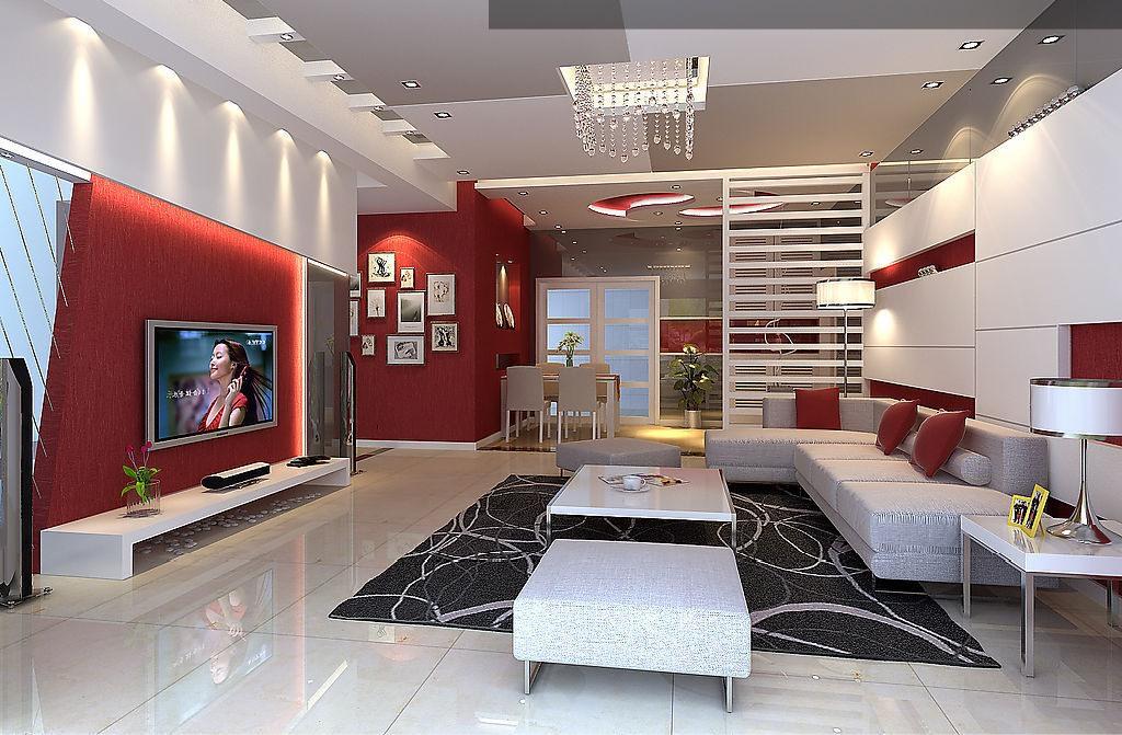 Photo deco salon design rouge - Photo Déco