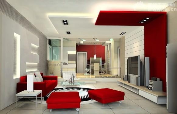 Photo deco salon design rouge