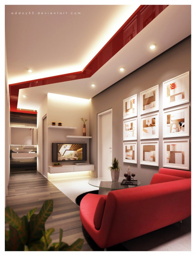 Deco salon design rouge for Exemple de salon