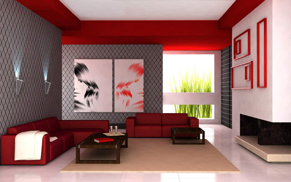 Deco salon design rouge for Deco salon design